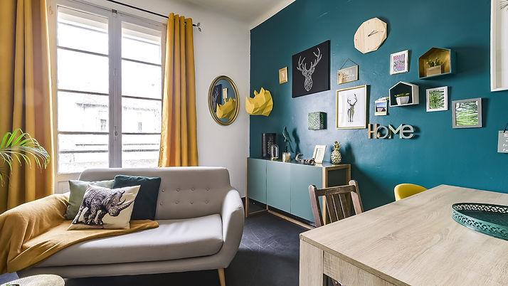 décoration vert forêt et doré, appartement modene, jungle, scandinave