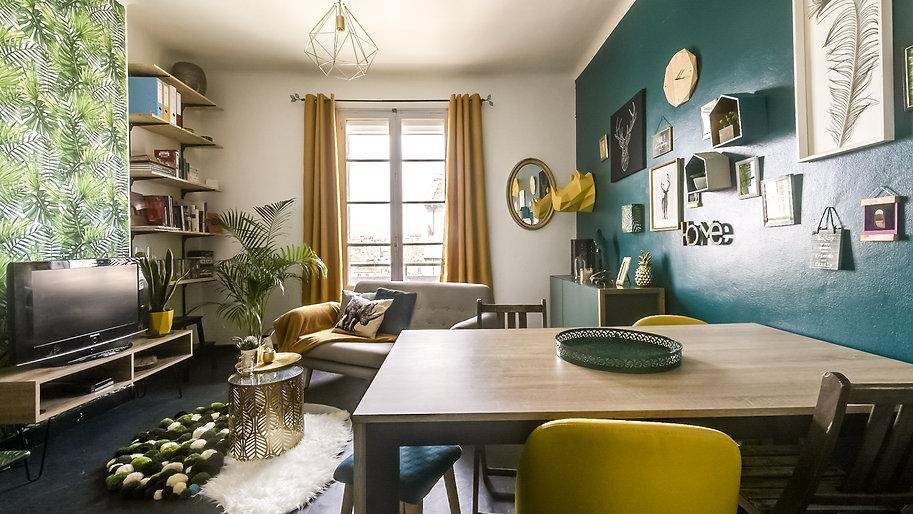 composition murale, origami, tableaux, vert forêt, jaune, bois