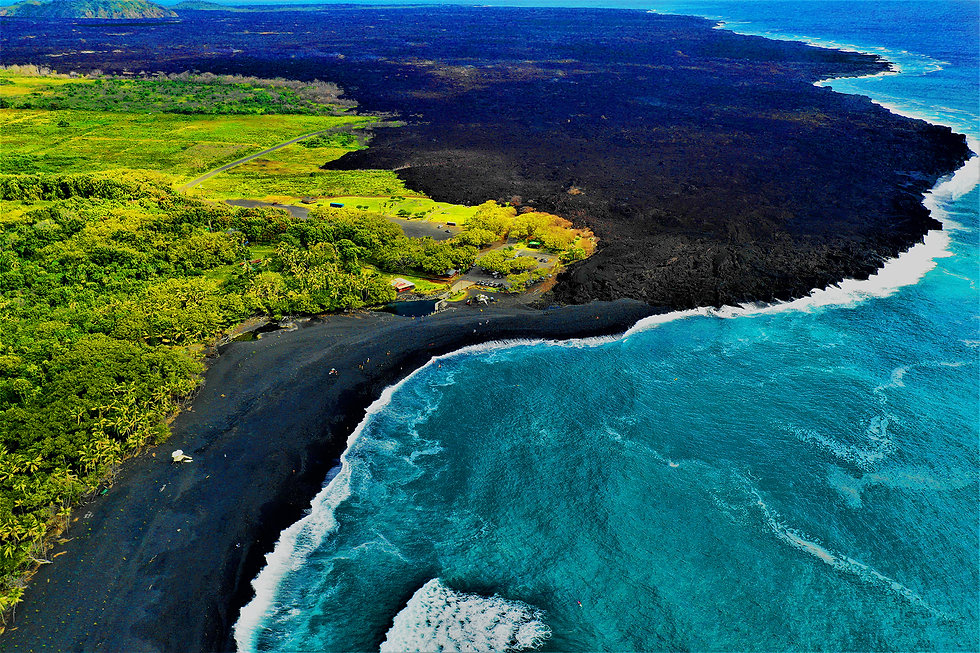 New pohoiki beach on Big Island Hawaii.