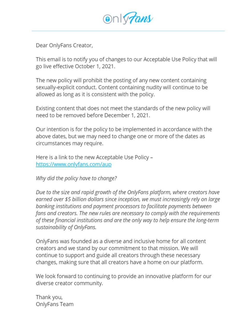 Email notification that Onlyfans will be changing their TOS. It's link to their new policy.