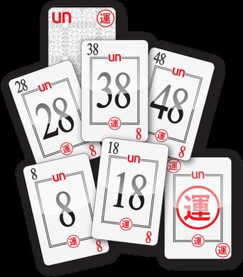 UN CARDS - 8, 18, 28, 38, 48, LUCKY