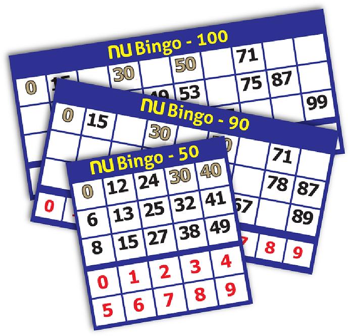 NU BINGO TICKETS - 50, 90, 100 NU BALL G