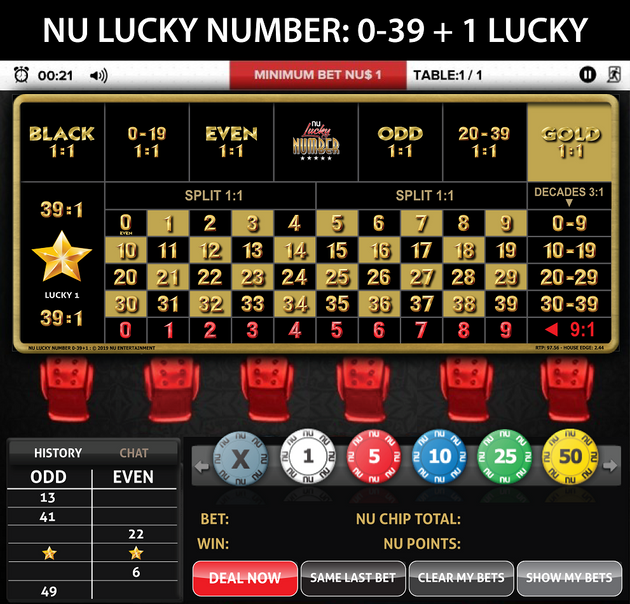 NU LUCKY NUMBER: 0-39 (L) SOCIAL TABLE LAYOUT