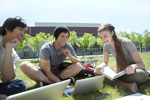 草の上での勉強