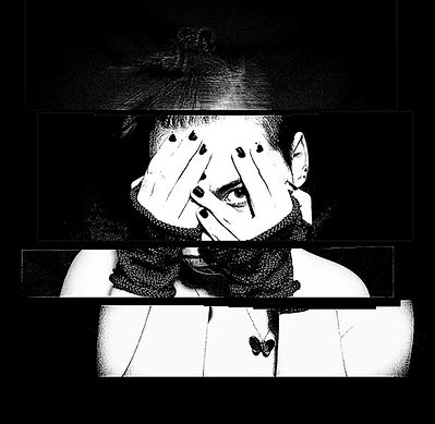 Black and white photograph cut into chunks  a pieced together.
