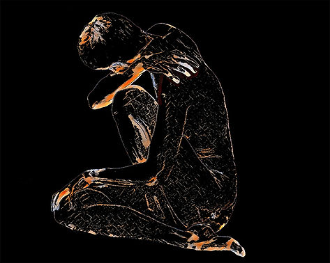 digital image of woman in sorrow, nude with arms and legs crossing. Graphic lines creating body