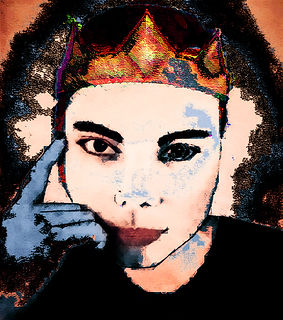 Digital manipulation of younf woman wearing a crown