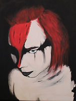 Acrylic painting of female warriors face. red and black face markings with red hair.