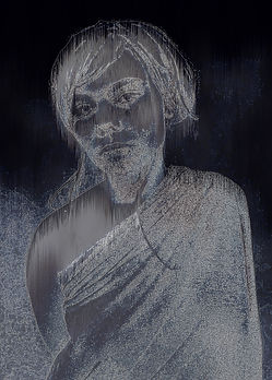 Model posed with arms behind her. Fogged and distorted features.