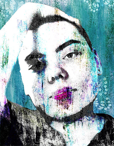 Contmeporary Portrait, mixed with Abstract art. Tired womans face with butterflies.