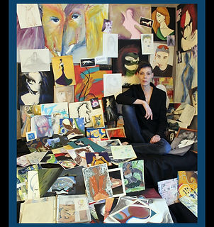 Artist photographed with their collection
