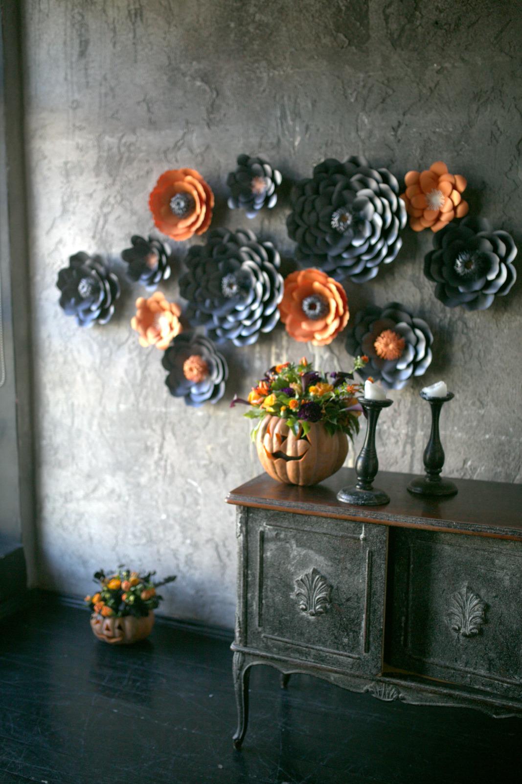 Сет бумажных цветов на Хеллоуин