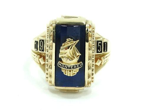 Vintage 1951 MONTEREY UHS UPPERMAN HIGH SCHOOL 10K Yellow Gold SHIP Ring JOSTEN