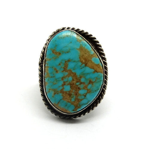 Huge Turquoise NAVAJO 925 Silver Ring S-10