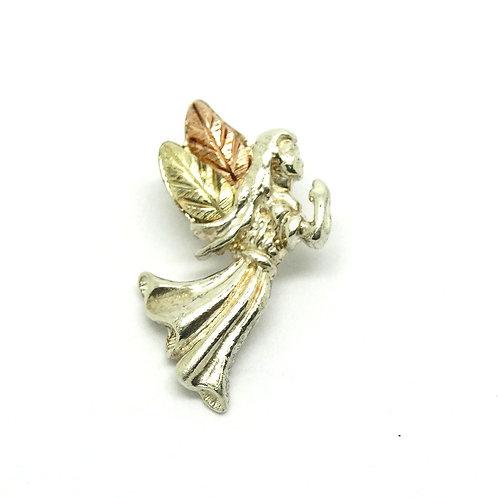 12k Gold & Silver Black Hills Angel Charm Pendant