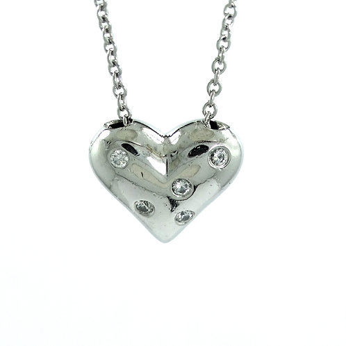 TIFFANY & CO Diamond Platinum ETOILE Heart Pendant Necklace PT950