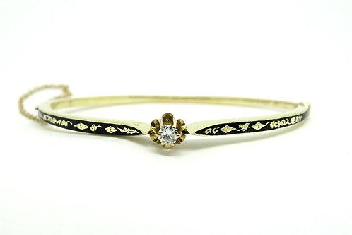 Vintage KGJ 14k Gold .25 DIAMOND Black Enamel Hinged Bangle Bracelet