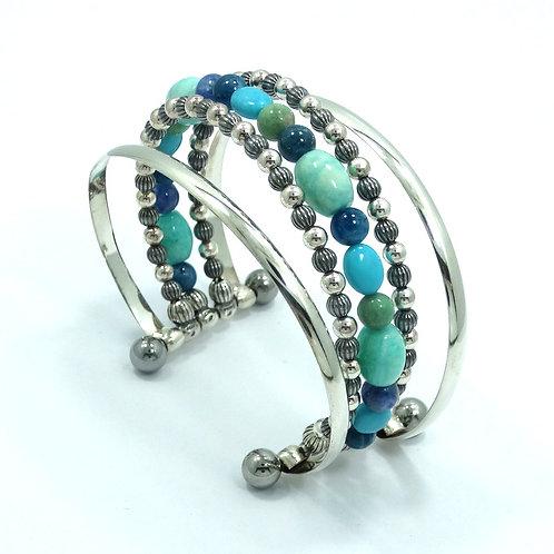 CAROLYN POLLACK Relios WATER GARDEN Sterling Silver & Steel Bead Bangle Bracelet