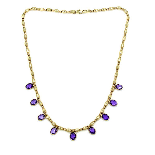 FARO Italy Oval Portuguese Cut Purple AMETHYST 14k Gold Necklace 17""