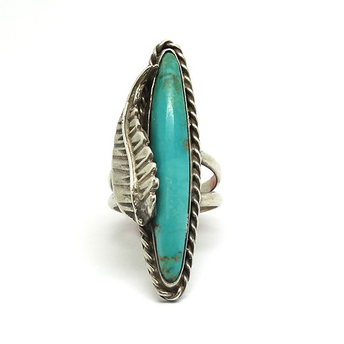 NAVAJO Turquoise Feather 925 Silver Ring