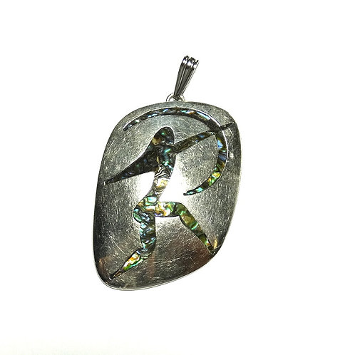 Sterling Silver Abalone Inlay Archer Pendant