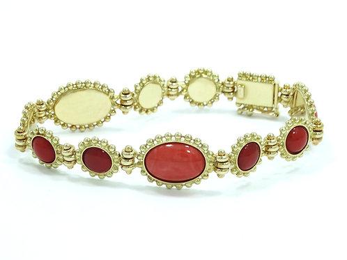 Vintage Italian MEDITERRANEAN Pink Angelskin & Deep Red CORAL 14k Gold Bracelet