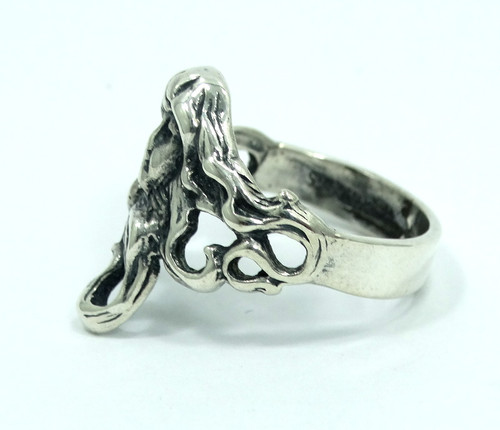 6bfbe536d Antique ART NOUVEAU Flowing Hair Lady Head Face Sterling Silver Ring s.5