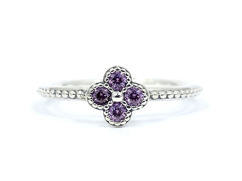 PANDORA Pink CZ ORIENTAL BLOSSOM ALE 925 Sterling Silver Stacking Ring 5-1/2