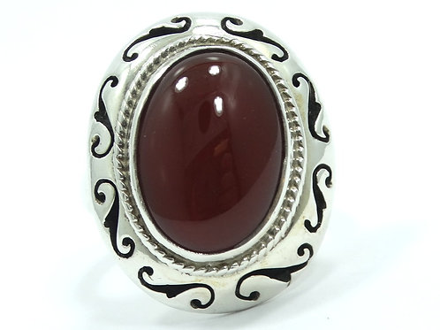 Vintage IMPRESSIVE Mexican CARNELIAN Sterling Silver Bypass Ring