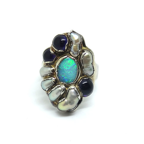 Modernist Opal Pearl Amethyst Two-Tone Silver Ring