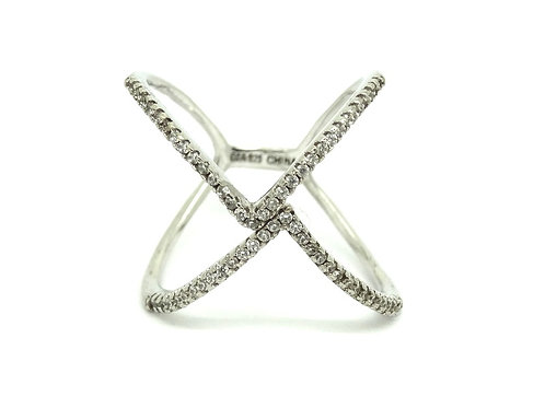 """C*A Chateau D'Argent Modern Fashion Bypass """"X"""" CZ 925 Sterling Silver Ring"""