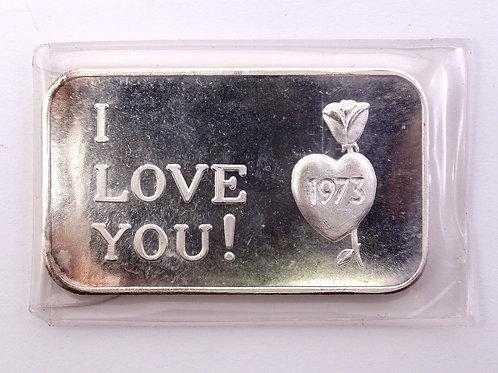"Cute Vintage 1973""I LOVE YOU"" CRABTREE MINT 1 Oz 999 Fine Silver Ingot Bar"
