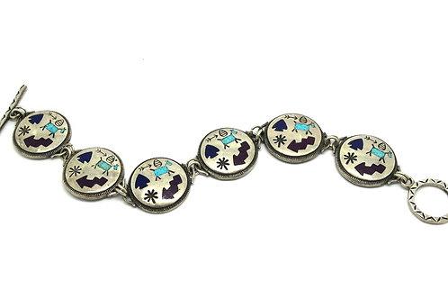 Navajo CAROLYN POLLACK Silver Inlay Link Bracelet