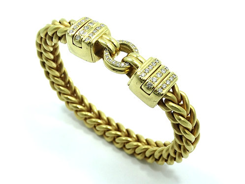 LA PEPITA Italy OE DIAMOND 56.5g 750 18k Gold Franco Wheat Link Chain Bracelet