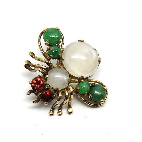 Vintage 14k Gold Moonstone Garnet Jade FLY Brooch
