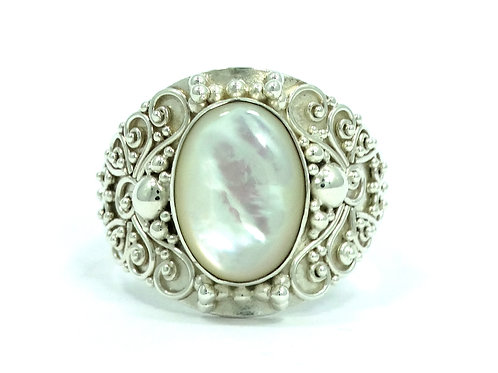 SUARTI Indonesia BA Mother of Pearl Filigree Sterling Silver Ring