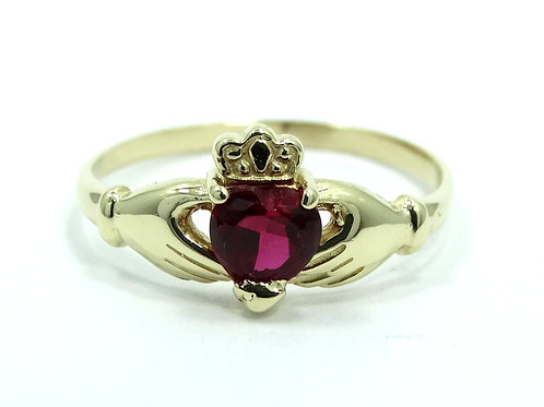 Beautiful IRISH CLADDAGH (RB) Red CZ 14k Gold Wedding Ring 6.75