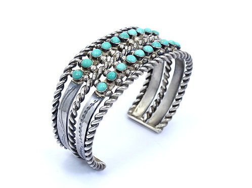 OLD PAWN Zuni style Blue TURQUOISE Sterling Silver Cuff Bangle