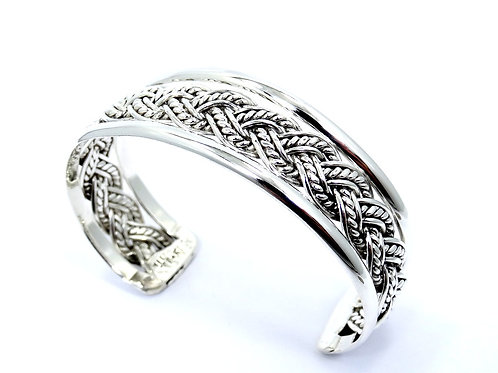 Vintage TAXCO MEXICO TE-51 Rope Weave Knot Sterling Silver Cuff Bangle Bracelet