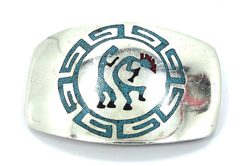 Vintage Old Pawn NAVAJO KOKOPELLI Crushed Turquoise Coral 925 Silver Belt Buckle