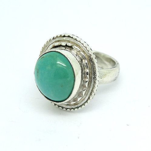 HEAVY Mexican Sterling Silver Turquoise Ring