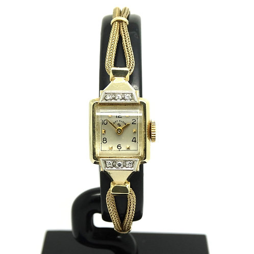 Beautiful USA LADY ELGIN Diamond 14k Gold 619L 19 Jewel winding Watch