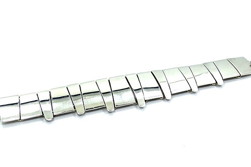Vintage Modernist MEXICO 925 Sterling Silver Bar/Claw Style Link Bracelet