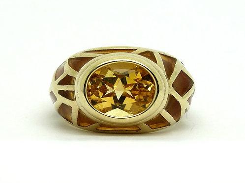 UTC Citrine Plique a Jour enamel 10k Gold Ring