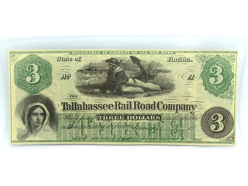 1860's Crisp $3 TALLAHASSEE Rail Road Company Florida Large Three Dollar Note