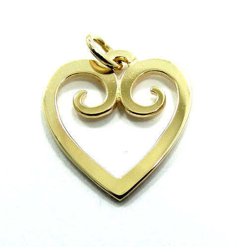 Retired JAMES AVERY 14K Gold HEART Scroll Cut Out Charm Pendant
