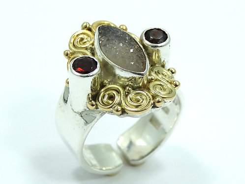 Fabulous SAJEN Filigree 18K Yellow Gold & 925 Silver GARNET DRUZY Gemstone Ring