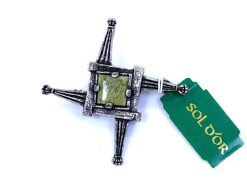 SOLDOR IRELAND Green CONNEMARA Marble Stone Celtic Cross Star Pendant Brooch Pin