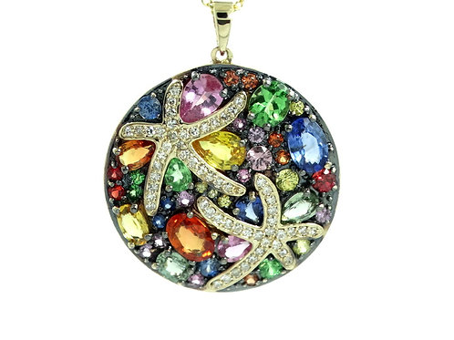 EFFY Collection WATERCOLORS DIAMOND Colored SAPPHIRES 14k Gold Pendant Necklace