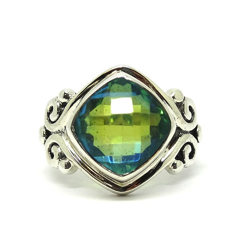 Beautiful SAJEN Blue/Green MYSTIQUE TOPAZ Filigree 925 IN Silver Ring